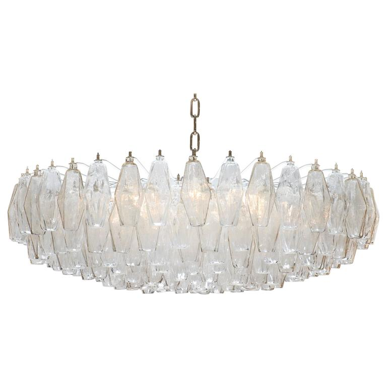 Murano Glass Poliedri Smoke And Clear Chandelier 1 Murano