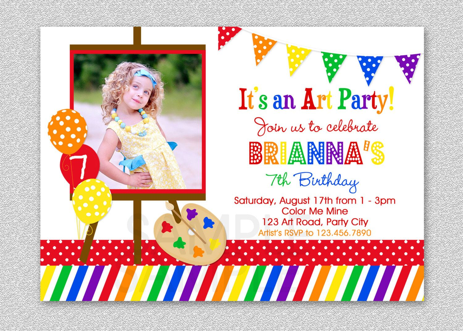 Get Art Birthday Party Invitations for your Kids Download this ...