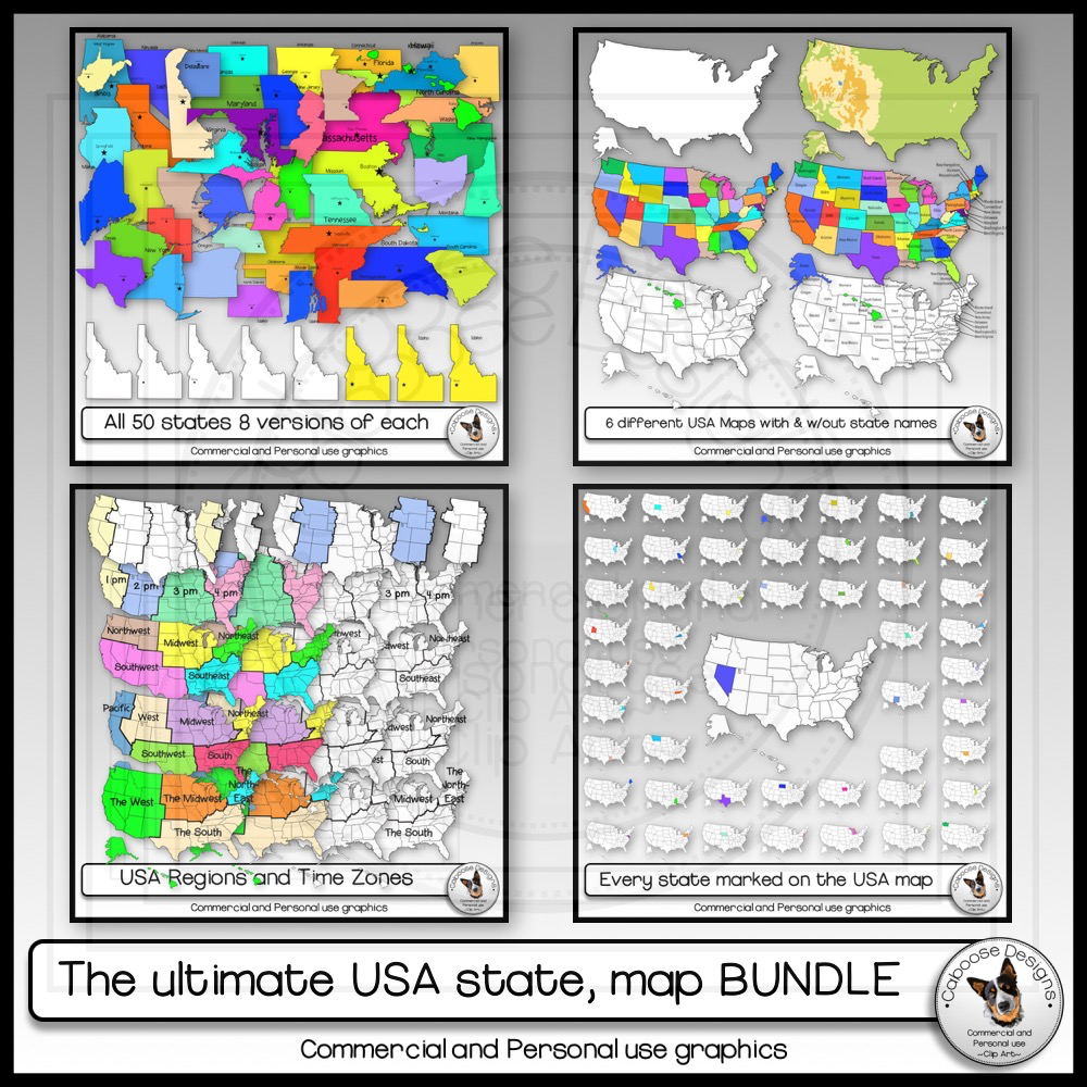 50 States, USA Maps, Regions, Timezones Clip Art ULTIMATE ...