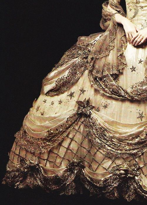 Costume Design...A costume designed by Gilbert Adrian, detail, worn by Norma Shearer in Marie Antoinette, 1938.