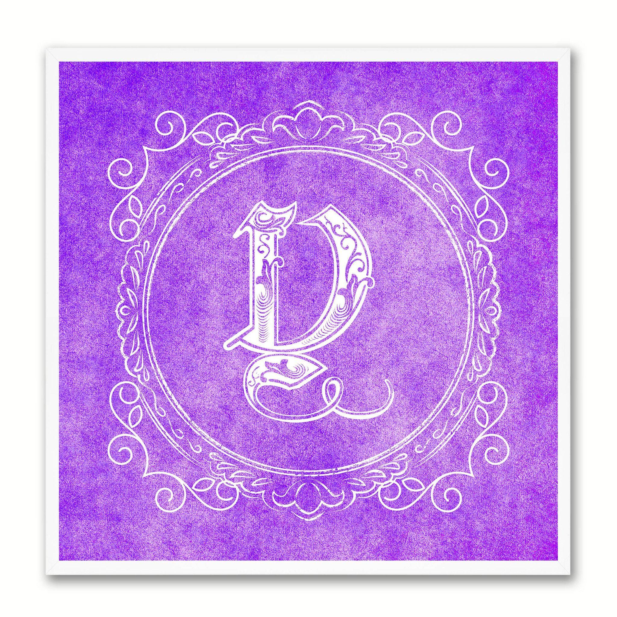 Alphabet Letter Y Purple Canvas Print Black Frame Kids Bedroom Wall Décor Home Art