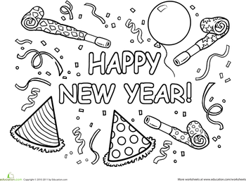 Happy New Year Worksheet Education Com New Year Coloring Pages Free Coloring Pages Printable Coloring Pages
