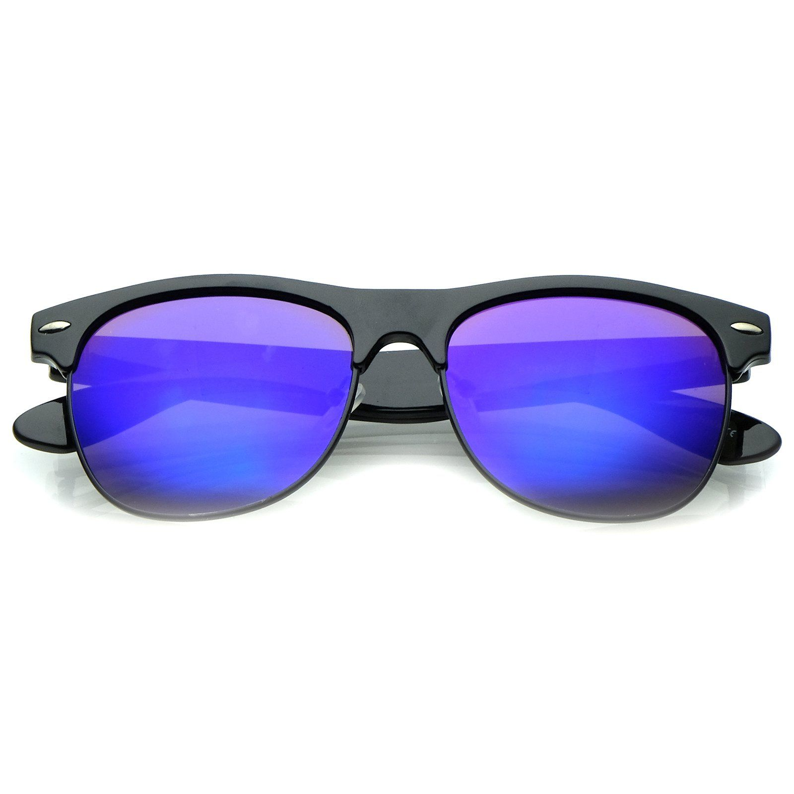 Classic Half Frame Colored Mirror Square Lens Horn Rimmed Sunglasses