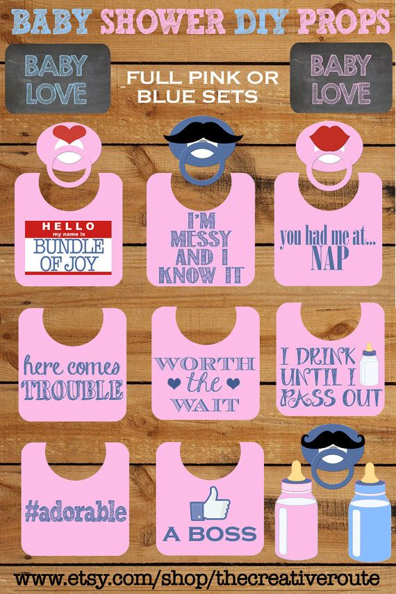 Baby Shower Photo Booth Props Printable Large 11 Page Pdf Diy Funny