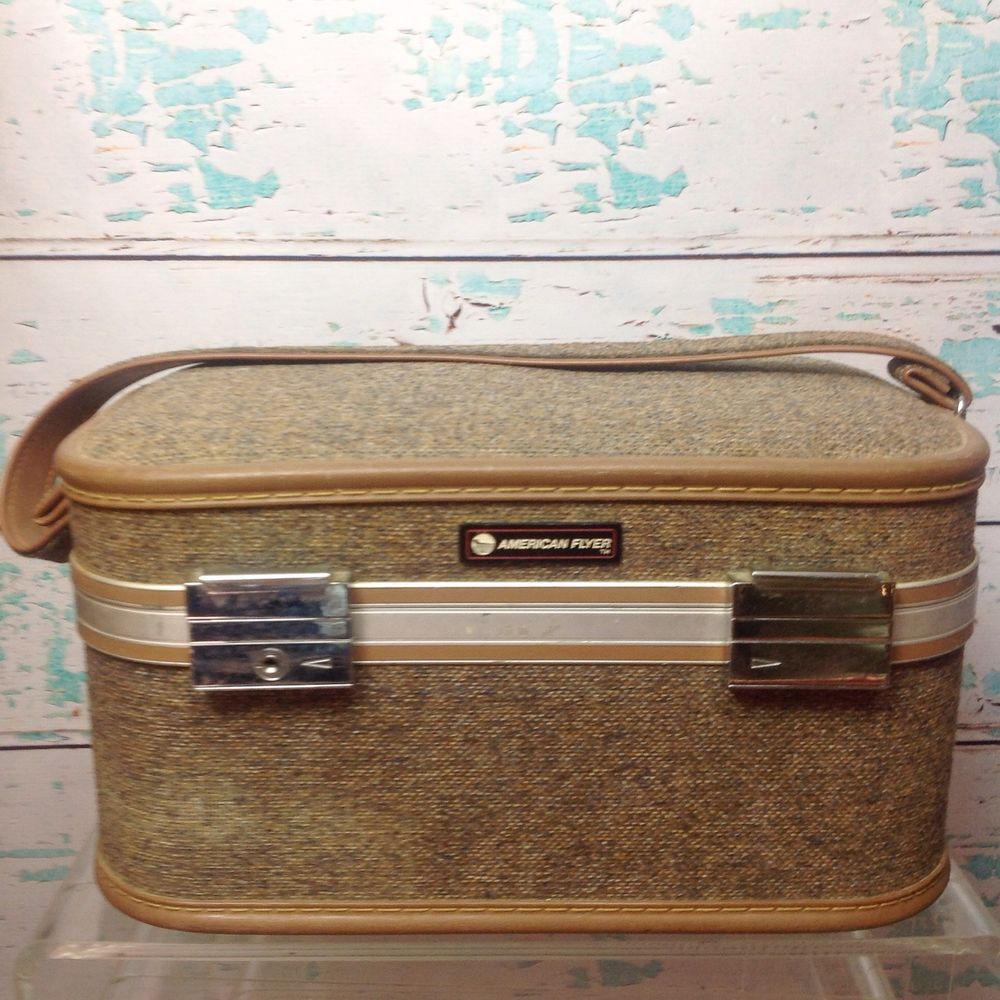 Vtg American Flyer Tweed Train Case Carry On Luggage