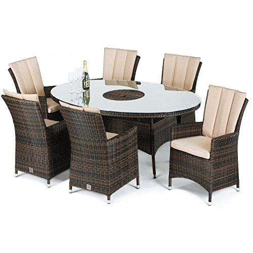 san diego rattan garden furniture 6 seater oval table set with ice bucket