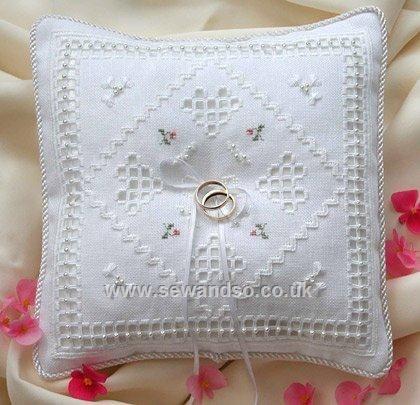 cross stitch wedding ring pillows | Photos of Cross Stitch Wedding ...