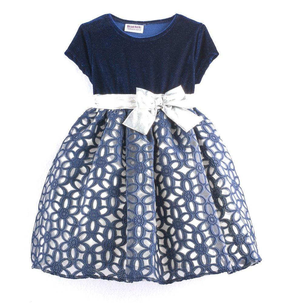 580fe91918a7c Baby Girl Blueberi Boulevard Floral Geometric Dress, Size: 24 Months, Blue  (Navy)