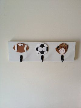 Boys Sports Theme 3 Wall Hooks Football Baseball Soccer Bedroom Decor Room