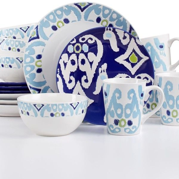 Rachael Ray Ikat 16-Pc. Set, Service for 4 (1 010 ZAR) ❤ liked on ...