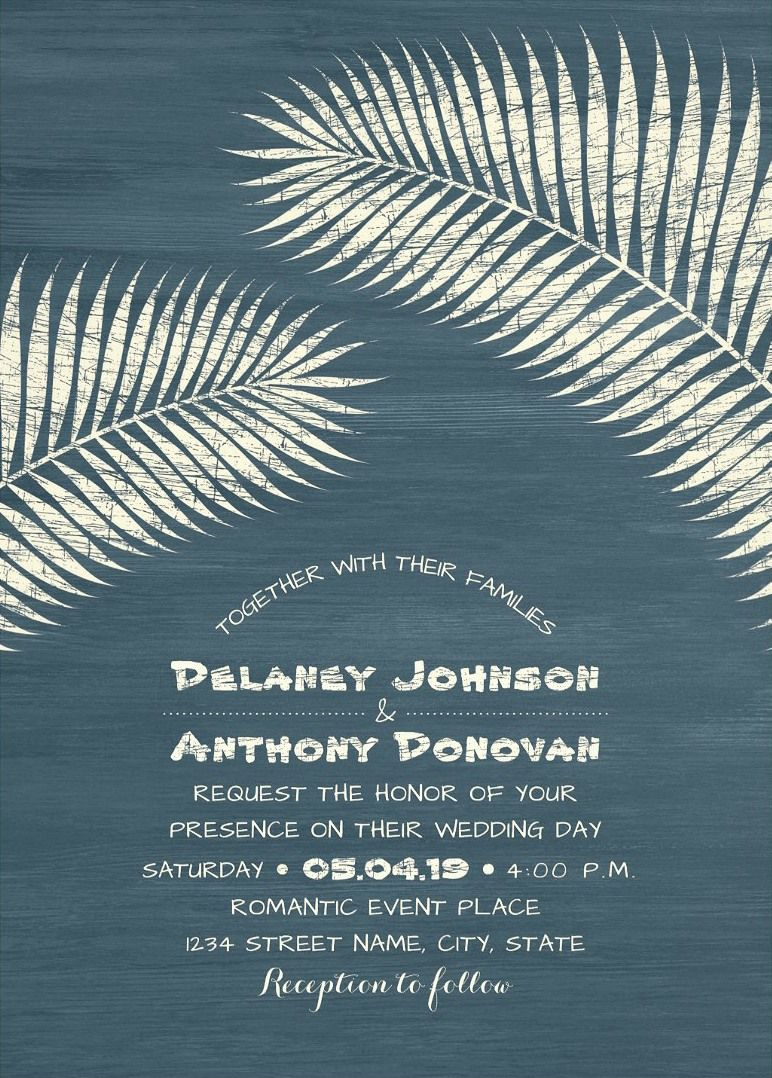 Tropical Beach Wedding Invitation, Palm Tree Wedding Invitation ...