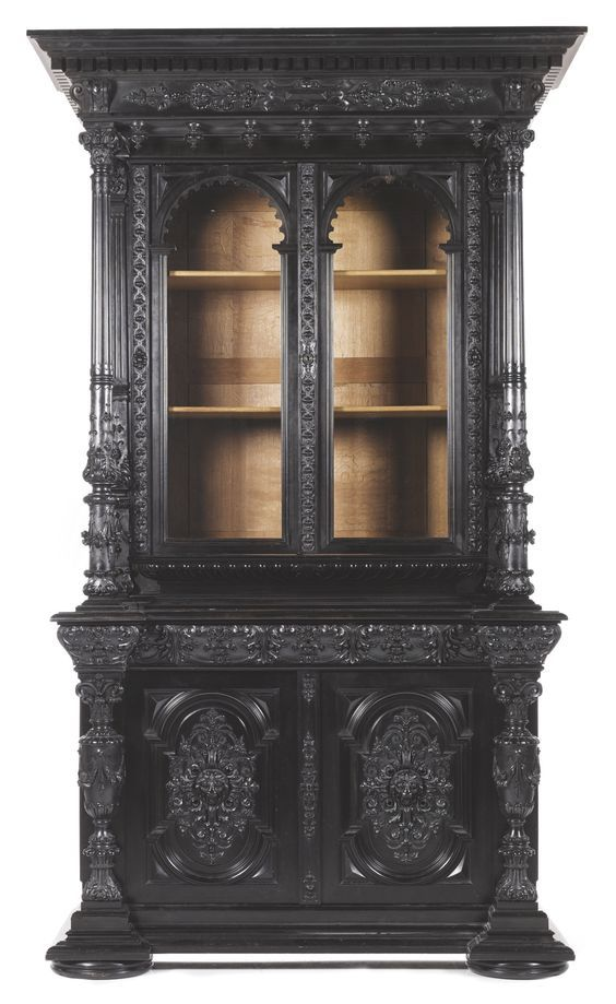Antique Black Cabinet Black Painted Furniture Gothic Furniture Home Decor