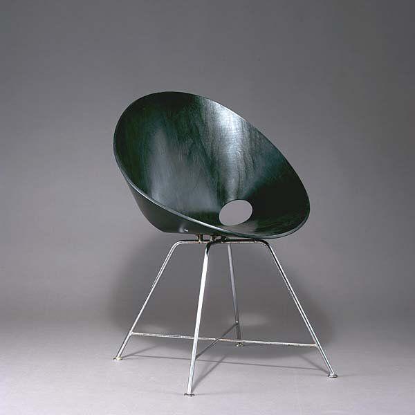 Eddi Harlis; #ST-664 Chromed Steel and Molded Plywood Chair for Thonet, 1955.