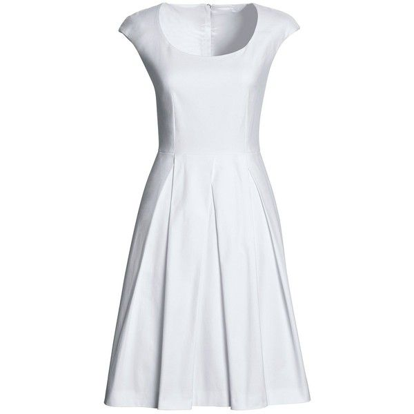Canvas by Lands' End Women's Pleated A-Line Dress ($165) ❤ liked on Polyvore featuring dresses, white, pleated dress, white dress, pleated a line dress, white cocktail dresses and pleated cocktail dress