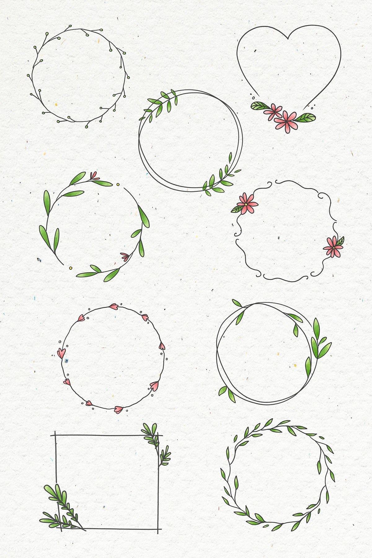 Photo of Download premium vector of Doodle floral wreath vector collection 2100610