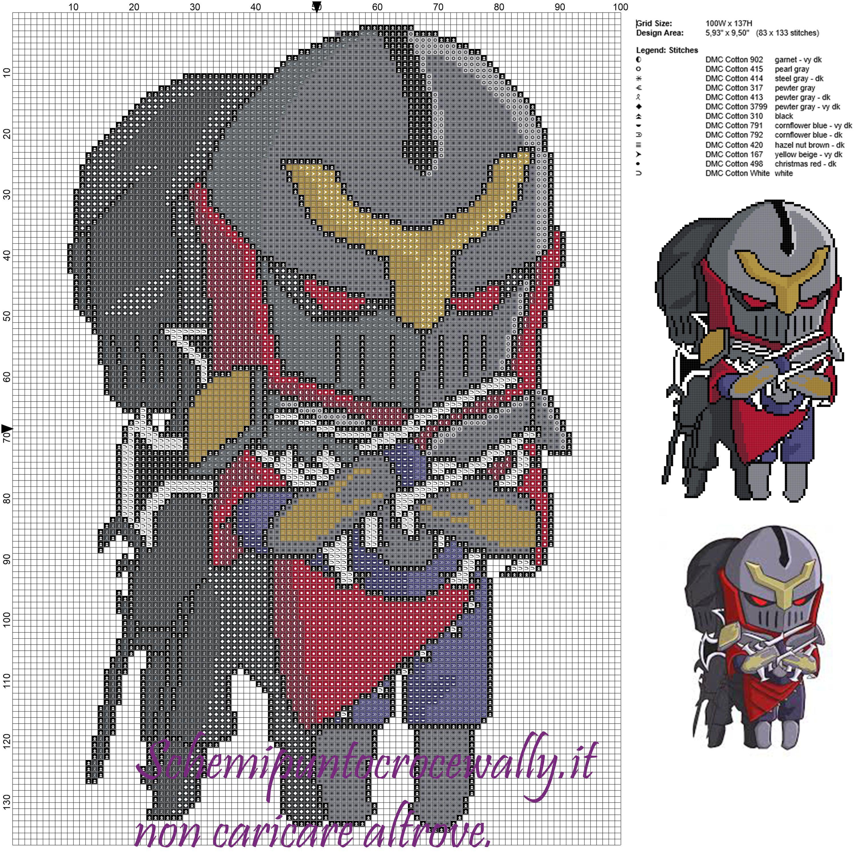 Zed (League of Legends) schema gratis punto croce 100x137 13 colori ...