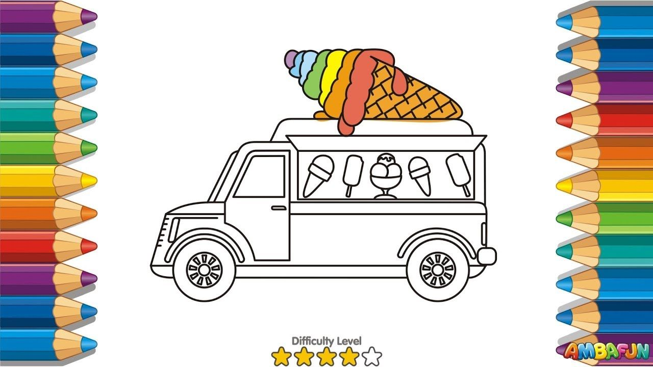 How To Draw Ice Cream, Truck, Coloring Pages For Kids | Nursery Rhymes, .