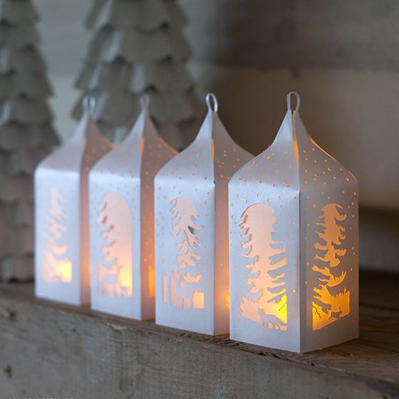 winter paper lantern template  DIY Winter Paper Lanterns | Christmas lanterns, Paper ...