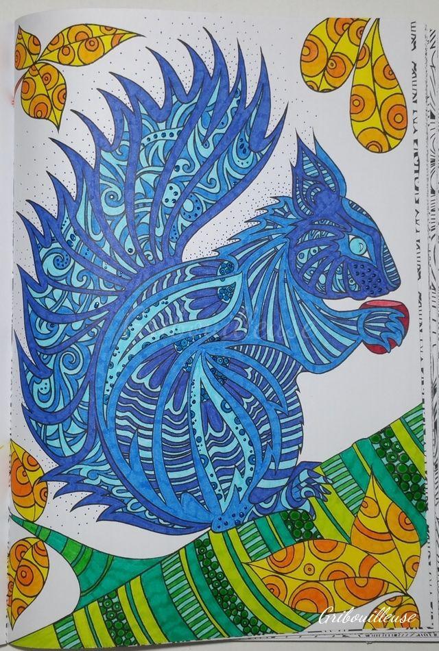 Mon petit cureuil bleu du bestiaire extraordinaire coloriage artth rapie arttherapie - Coloriage petit ecureuil ...