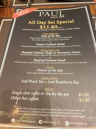 All Day Set Special From Paul Mblm Holiday Soups French Fry Sauce Prawn Cocktail