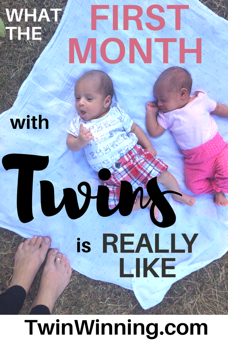 Want to know what the first month with twins is really like? I did too, when I was pregnant with twins. That's why I recapped what my first month with twins was like. I hope it helps you on your journey with newborn twins! #twinwinning #twins #newborntwins #boygirltwins #momlife