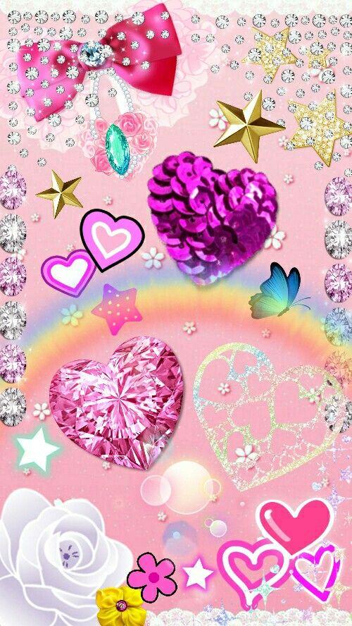 Sparkly Pink Hearts Wallpaper Heart Wallpaper Valentines Wallpaper Android Wallpaper Anime