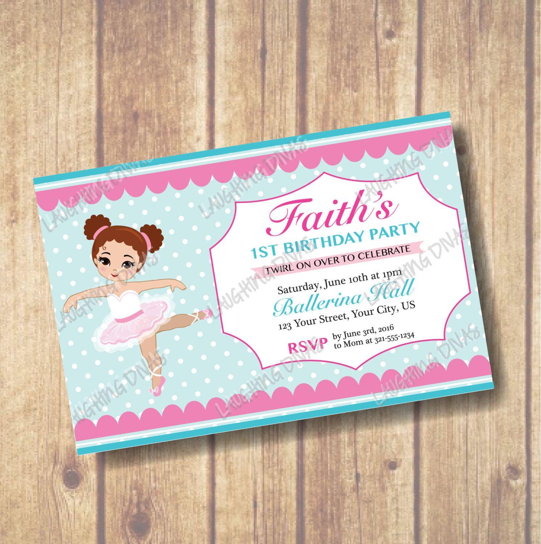 Pretty Tutu Ballerina 1st Birthday Invitation Teal Polka Dot With
