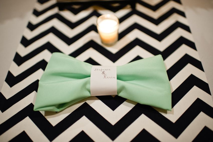 Navy And White Chevron Table Runnerint Bow Napkins By Spindle Photography