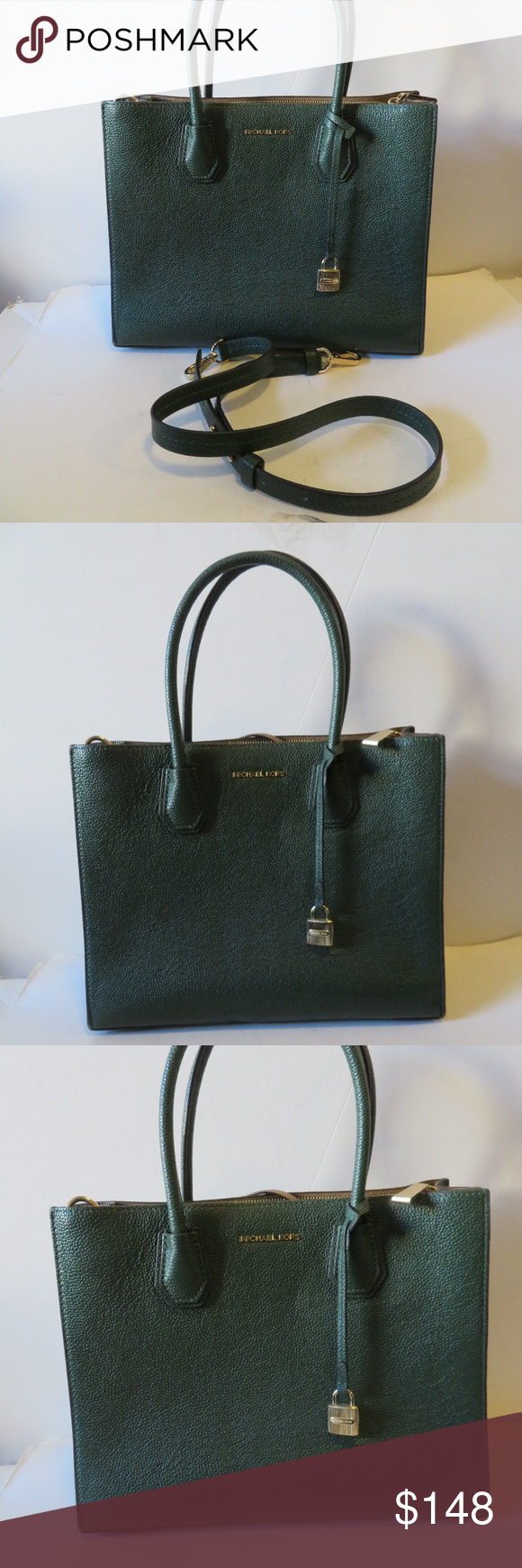 MICHAEL KORS MERCER HUNTER GREEN LEATHER BAG WOMENS MICHAEL KORS MERCER HUNTER  GREEN LEATHER SHOULDER CROSSBODY 04f0587264