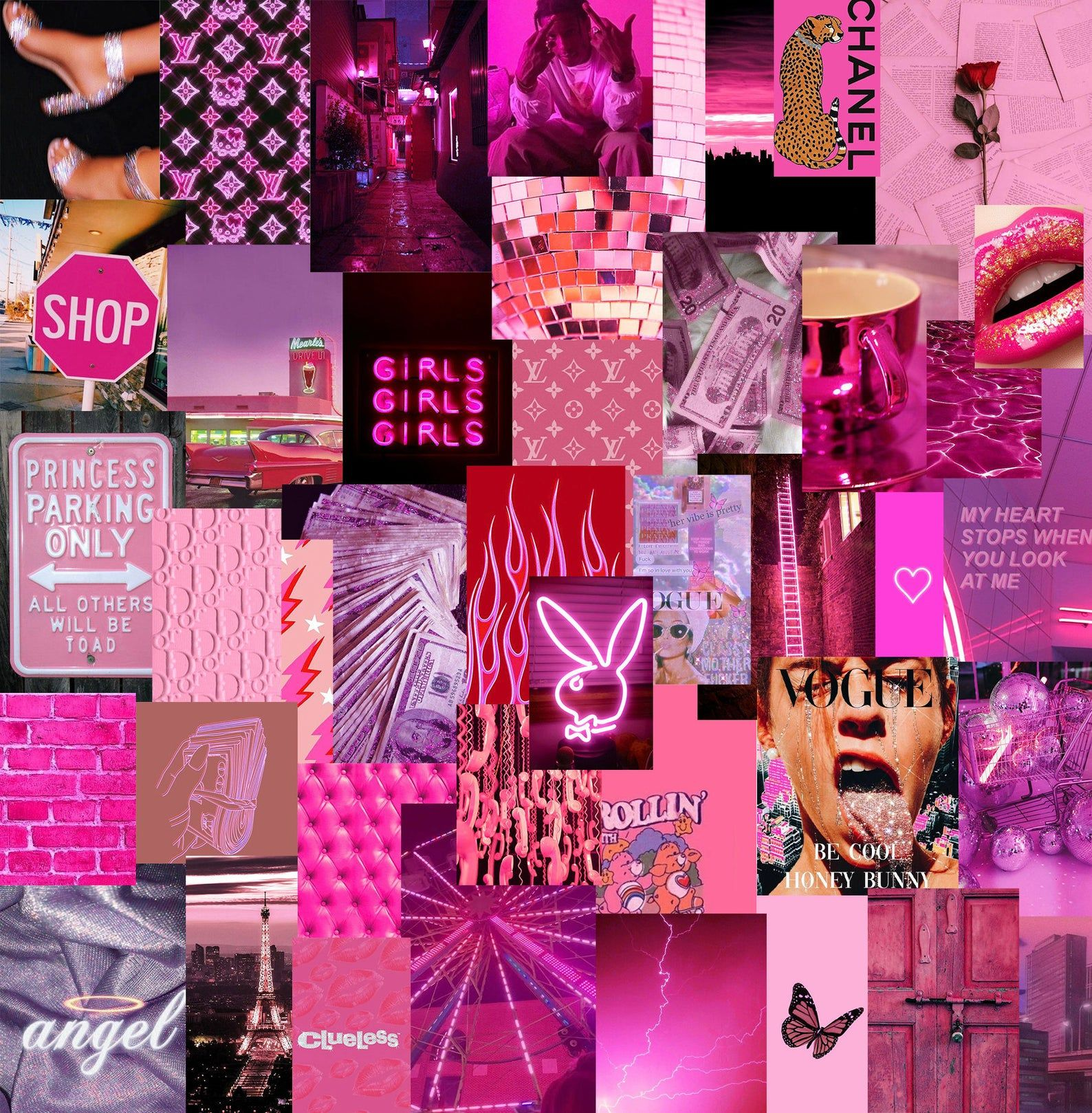 Neon Pink Colors Wall Collage Kit In 2020 Pink Wallpaper Girly Wall Collage Picture Wall Bedroom
