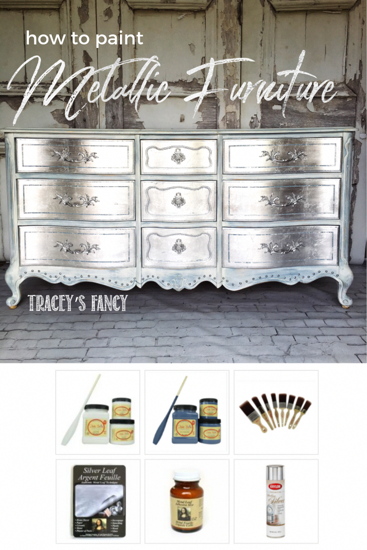 Gorgeous Glam Silver Metallic Dresser