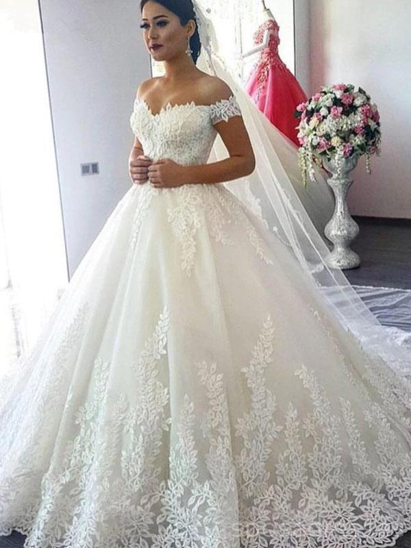 Off Shoulder A Line Lace Cheap Wedding Dresses Online Cheap Bridal Dresses Wd504 In 2020 Fancy Wedding Dresses Wedding Dress Train Online Wedding Dress