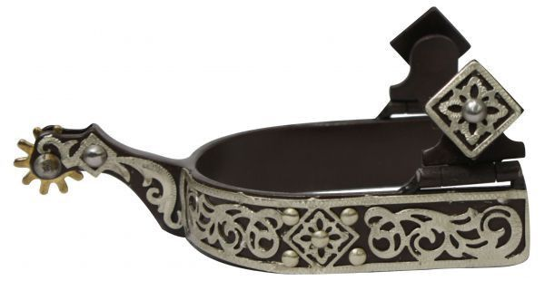 """Showman™ brown steel spur with 0.75"""" band and 1.75"""" shank. Details are fancy engraved silver scrollings."""