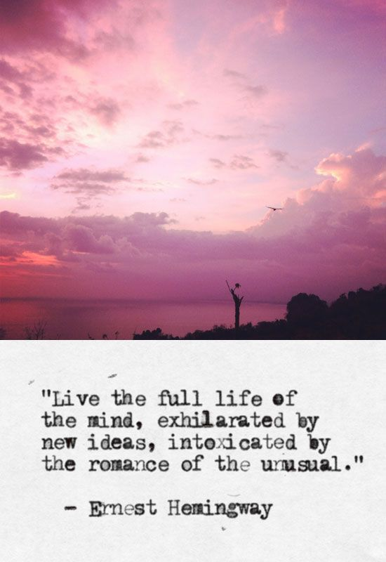 Live the full life of the mind, exhilarated by new ideas