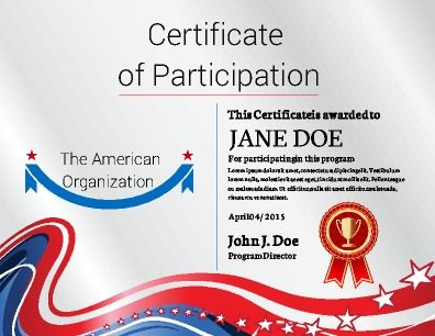 Certificate of Participation implementing a bold and fresh design - Free Professional Certificate Templates