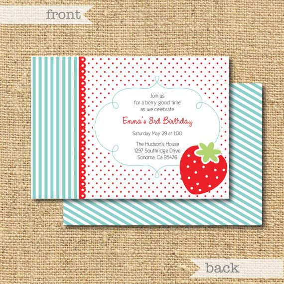 Printable Strawberry Invitation by printyourparty on Etsy, $15.00