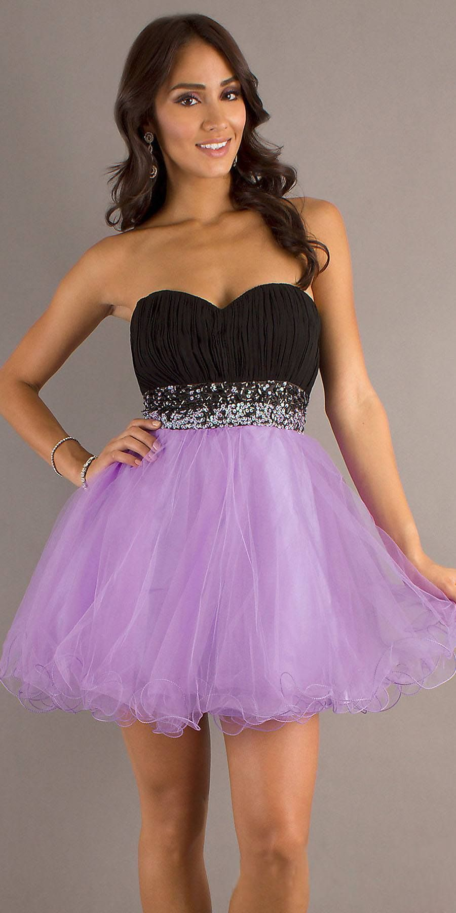 85e31eca0f81 CLEARANCE - Short Poofy Black Lilac Homecoming Dress Pleated Bodice Empire  (Size 2XL)