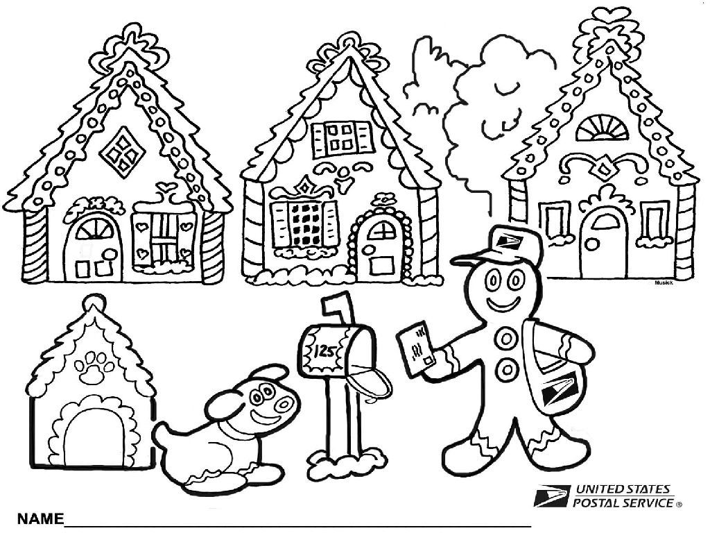 Amusing Gingerbread House Coloring Pages Houses In Online ...