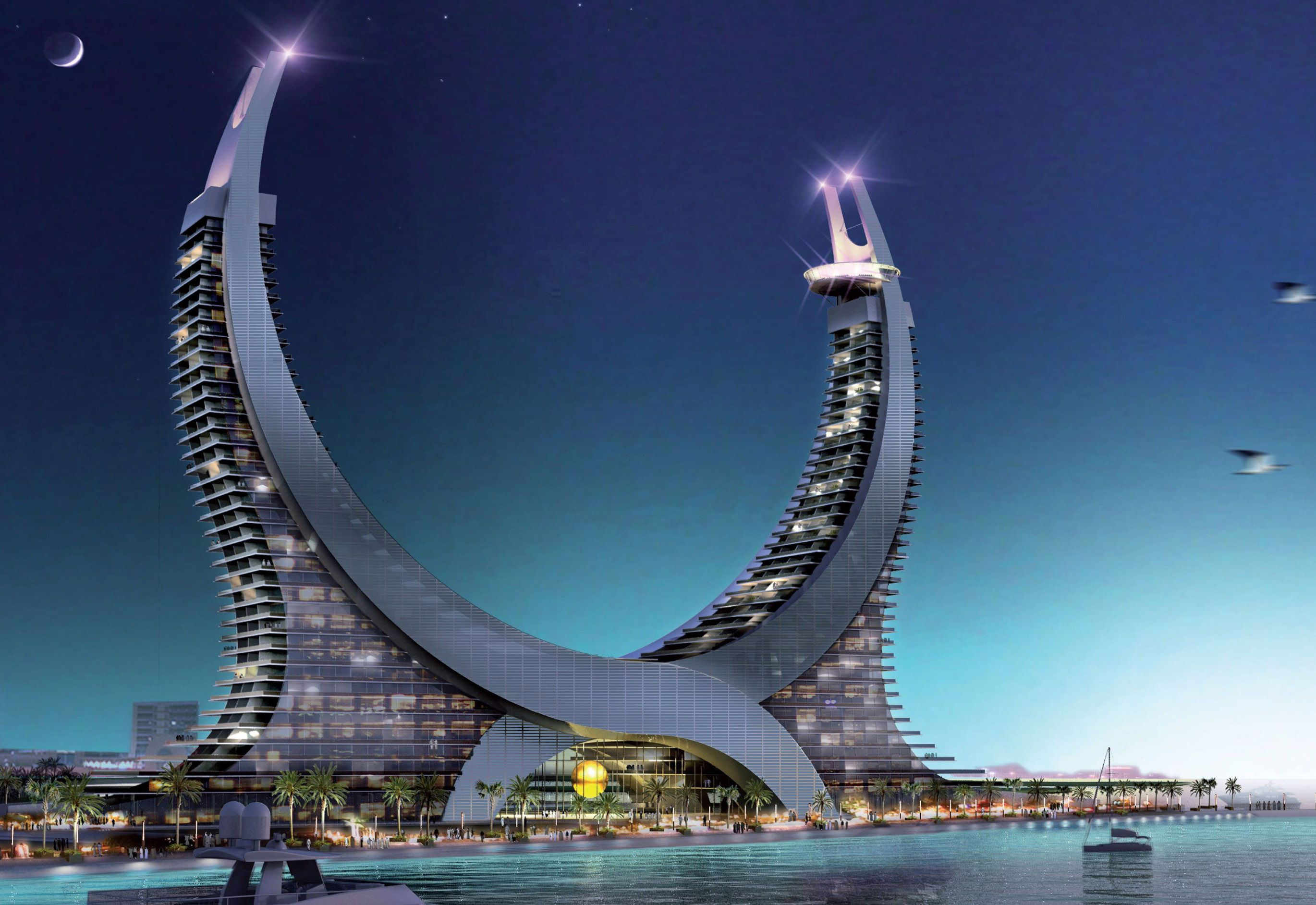 Lusail Marina Tower Concept Featuring Twin Towers Inspired By