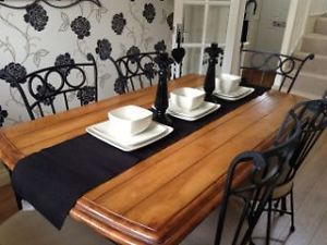 Solid Wood And Wrought Iron Dining Room Table And Chairs