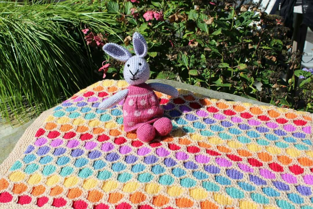 Rainbow knitted baby blanket and knitted bunny, made for my baby niece