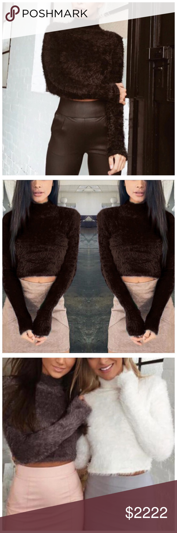 ️COMING SOON Brown Soft Furry Crop Sweater Boutique | Brown ...