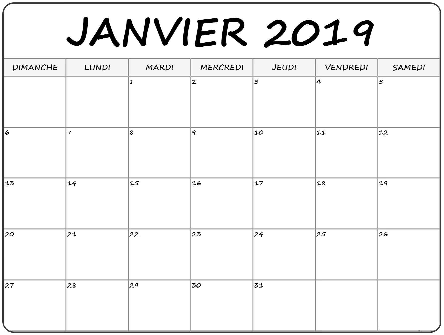 Template Calendrier 2019.Calendrier 2019 Janvier In 2019 January Calendar Blank
