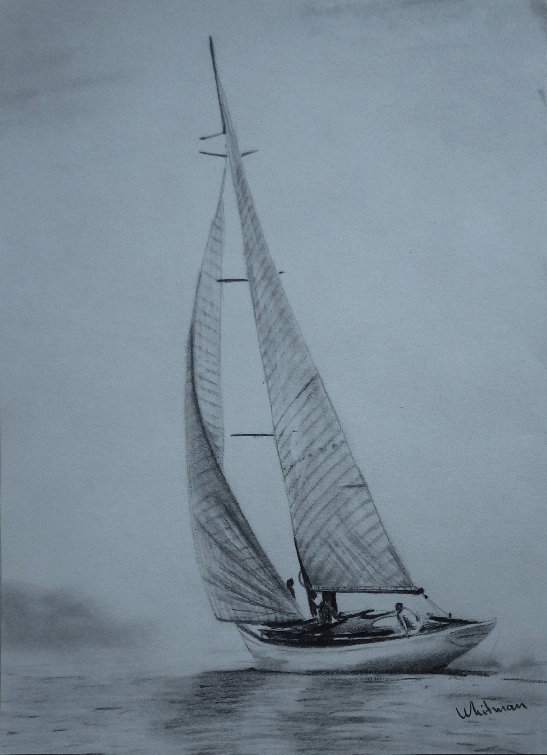 Sailing yacht graphite drawing pencil drawing by elena whitman