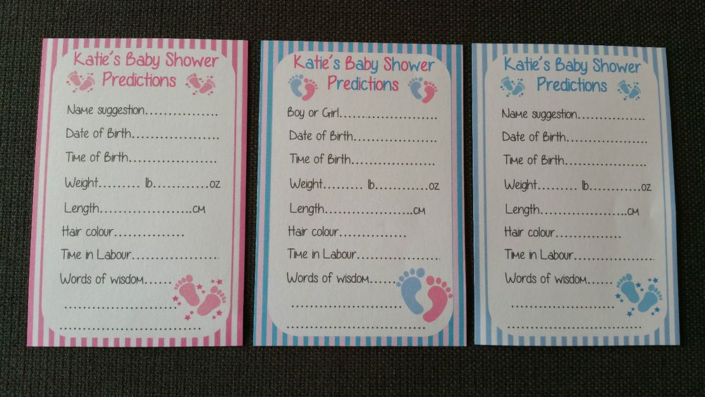 Personalised Baby Shower Prediction Game Cards Keepsakes - BOY / GIRL / UNISEX