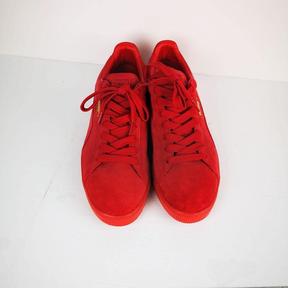 Puma Red Suede Mens Shoes sz 13 M USA Eco Ortholite Gold