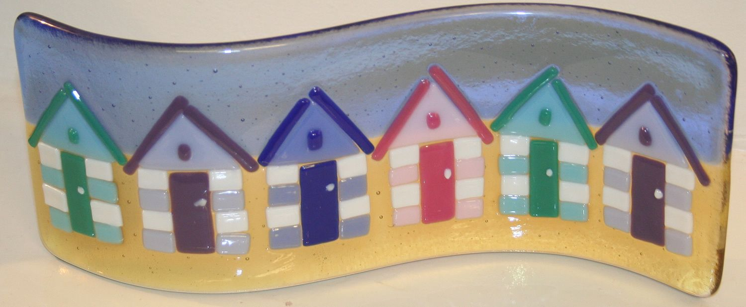 Row of beach huts curved fused glass table clock - Fused Glass Beach Huts