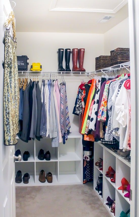 3 Storage Tips For A Shared Master Closet Master Closet Organization Closet Clothes Storage Closet Bedroom
