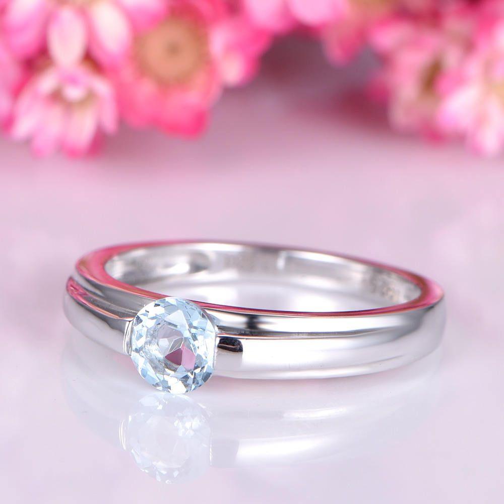 Aquamarine engagement ring solid 14k white plain gold band thick ...