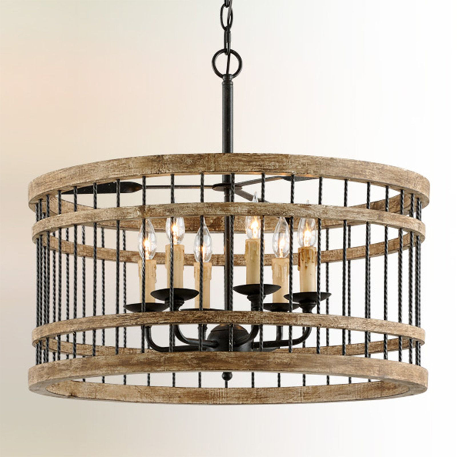 Twisted Country Cage Chandelier Wood Pendant Light Dining Pendant Troy Lighting